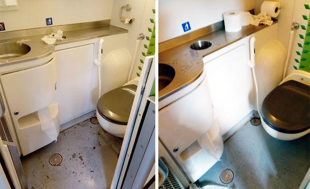 Kuva IC29:n wc:stä ennen ja jälkeen siivouksen.