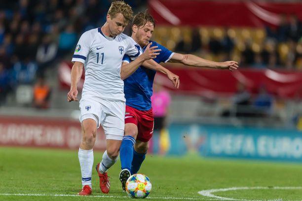 Rasmus Schüller pelasi, kun Suomi kohtasi Liechtensteinin vieraissa viime kesänä ja voitti 2–0.