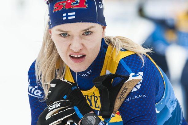 Maajoukkuehiihtäjä Vilma Nissinen on kärsinyt kurkkukivusta.