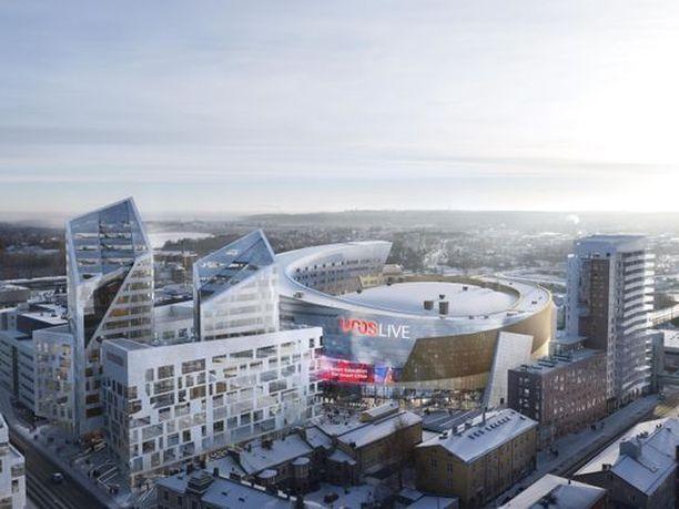 Arkkitehdin näkemys areenasta, muutokset mahdollisia.