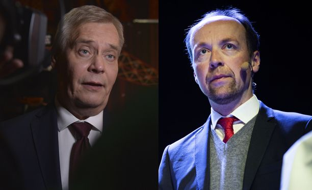 Antti Rinne (vas.) ja Jussi Halla-aho.