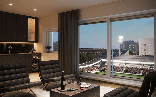 Yläkerroksien asunnoista on esteetön näkymä stadionille.