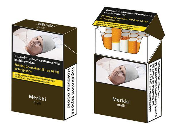 THL:n havainnekuva yhdenmukaisista tupakkapakkauksista Suomeen sovellettuna. Kuva on suuntaa-antava ja toteutettu EU:n mallikuvien pohjalta.