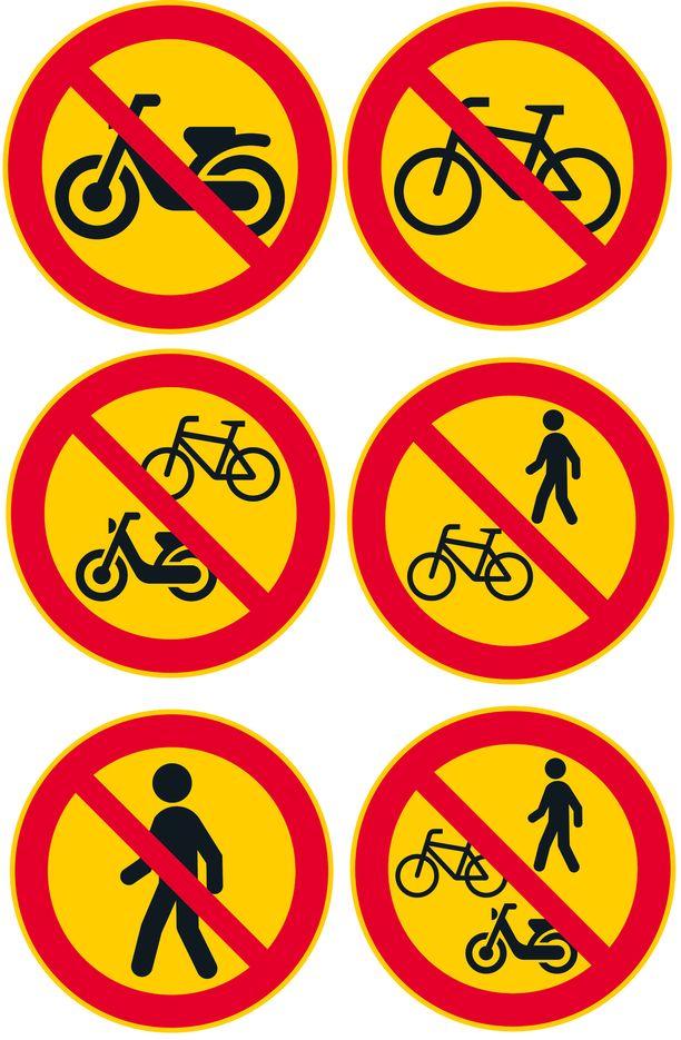 Mopoilun, polkupyöräilyn ja kävelemisen kiellot, sekä niiden yhdistelmät.