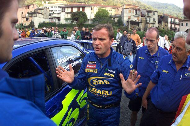 Toyotan tallipäällikkönä nykyään työskentelevä Tommi Mäkinen ajoi Subarulla uransa päätöskaudet 2002-03.