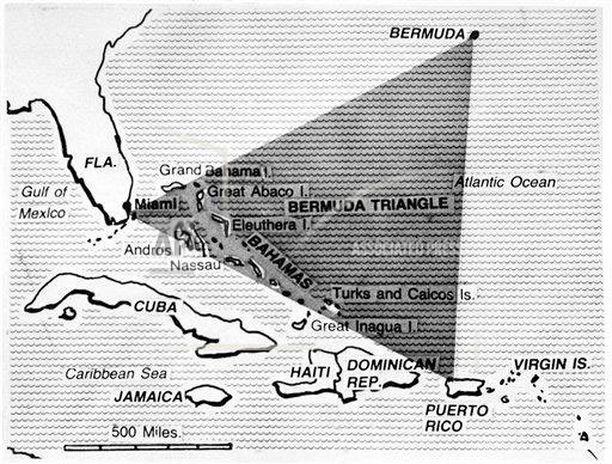 Bermudan kolmion alue rajautuu Floridan, Bermudan sekä Puerto Ricon välille.
