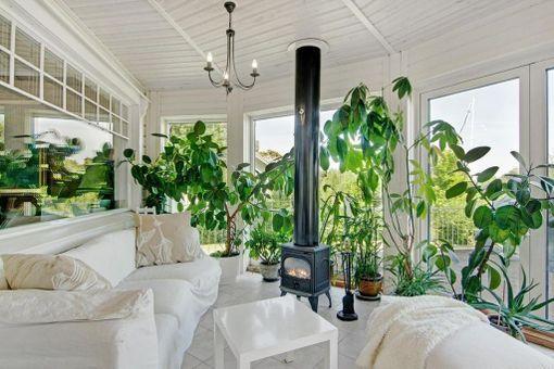 Tämän kodin talvipuutarhan keskelle on sijoitettu puukamiina.