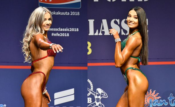 Sonja (vas.) ja Sofia Aiello kisasivat sunnuntaiaamulla bikini fitnessin juniorisarjassa.