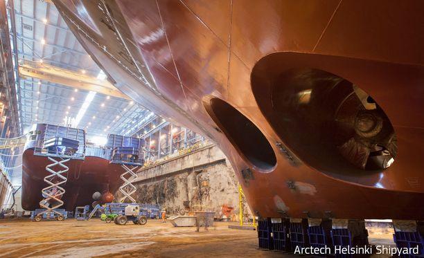 Alustavan sopimuksen mukaan Helsingin telakalta tilataan vihreäksi ja ympäristöystävälliseksi kuvailtu risteilijäalus, jossa olisi 750 hyttiä ja paikat 2000 matkustajalle. Kuvituskuva.