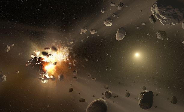 Taiteilijan näkemys siitä miten planeetta muodostuu kaasusta, pölystä ja pienemmistä kappaleista.