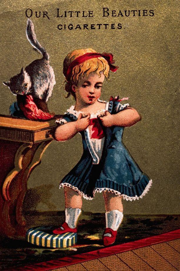 Vanhaa tupakkamainontaa. Our Little Beauties -savukkeita mainostavat kortit vuodelta 1885.