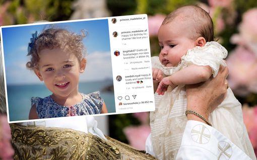 Prinsessa Adrienne täytti kolme vuotta - prinsessa Madeleine julkaisi suloisen kuvan kuopuksestaan