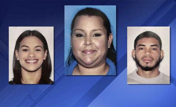 Ishnar Lopez Ramos (keskellä) palkkasi Glorianne Montesin ja Alexis Riveran murhaamaan kilparakastajansa.