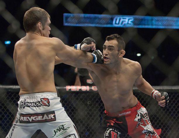 Tony Ferguson (oik.) tähdittää UFC:n paluuta tositoimiin.