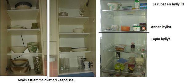 Anna Rantanen ja Topi Laitinen informoivat Kelaa kuvan avulla, että heidän ruokansa ovat eri hyllyillä ja astiat eri kaapeissa.