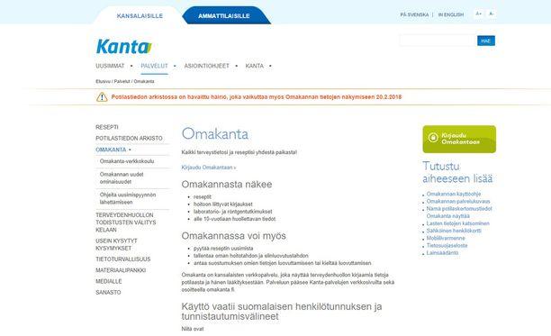 Kanta-palvelun sivustolla tiedotetaan häriöstä.