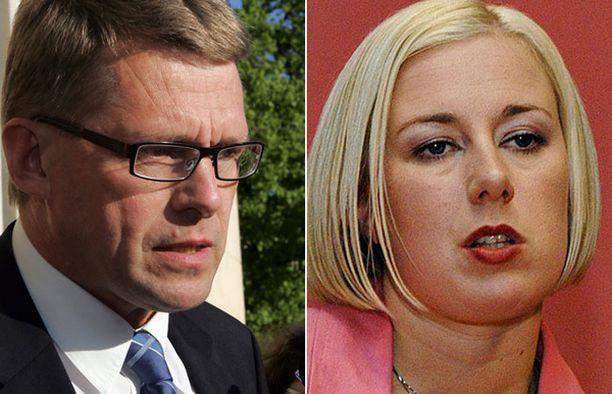 Matti Vanhanen jyrähti SDP:n tuoreelle puheenjohtajalle Jutta Urpilaiselle vaalitentissä keskiviikkona.