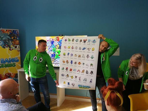 Lauri Järvilehto ja Lauri Konttori esittelevät kaikille kouluille jaettavaa uudenlaista alkuainataulukkoa. Tästä versiosta lapsetkin saattavat innostua, kaksikko lupaa.