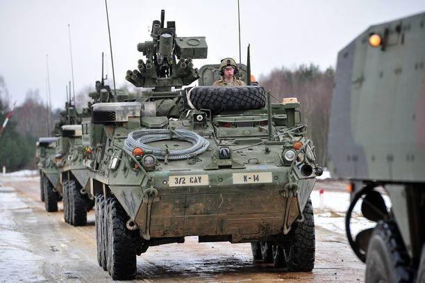 Amerikkalaiset harjoittelivat viime vuonna Puolassa Stryker-kalustolla.