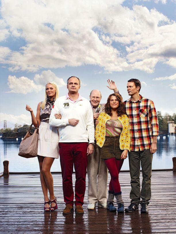 Vasemmalta oikealle: Mickan, Fredde, Ove, Anna ja Alex.
