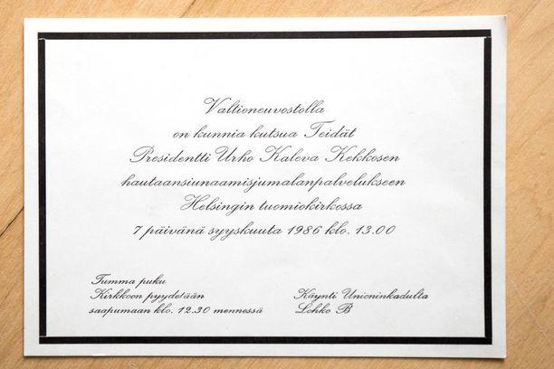 Tamminiemi komeili kirjeessä, jossa Kekkonen toivotti Tuonoselle hyvät juhlapyhät.