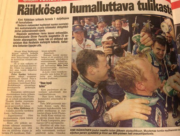 Ensimmäisen F1-startin jälkeen Sauber-kollegat kastelivat Kimin oluella - saa nähdä, toistuuko tämä ensi vuonna.