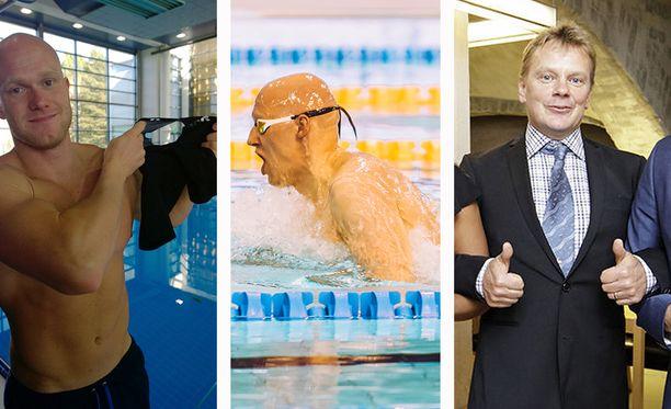 Tokiossa uivaa Matti Mattssonia (kesk.) valmentava Eetu Karvonen (vas.) esittelee vuoden 2014 kuvassa revenneitä uimahousujaan. Marko Malvelakin oli tuolloin paikalla ja sanoo, että kyseessä oli hauska päivä.