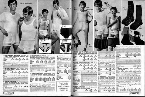 Myös miesten alusasuja löytyi kuvastoista. Kuvassa miesten alusvaatemuotia vuodelta 1969.