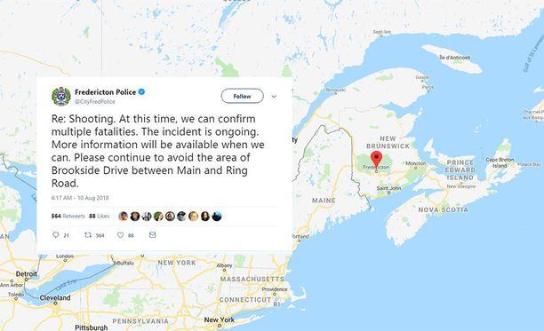 New Brunswickissa Frederictonissa on käynnissä ammuskelu, jossa on saanut surmansa ainakin neljä ihmistä.