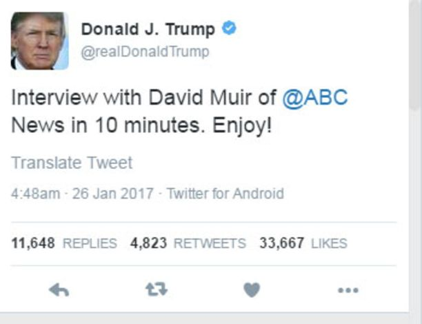 Donald Trumpin viimeisimmät tviitit on lähetetty Android-laitteella.