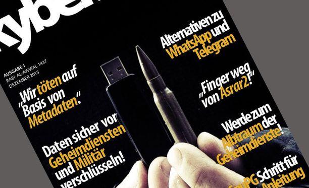 Jihadisteille suunnatun lehden kannessa on aseen patruuna ja USB-muistitikku.