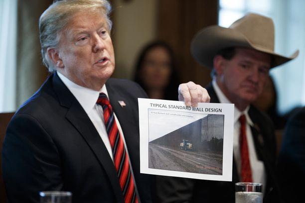 Kuvassa presidentti Trump esittelee hahmotelmia muurirakennelmasta Meksikon rajalle.