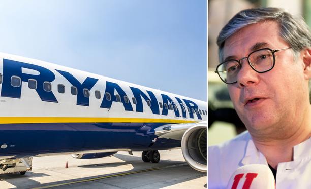 Asko Järvinen on HUSin infektiotautien ylilääkäri. Arkistokuvassa Ryanairin kone. Ryanair liikennöi Lappeenrannan ja Italian Bergamon väliä.