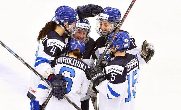 Suomen naiset kukistivat Kanadan ensimmäistä kertaa MM-tasolla. Arkistokuva.