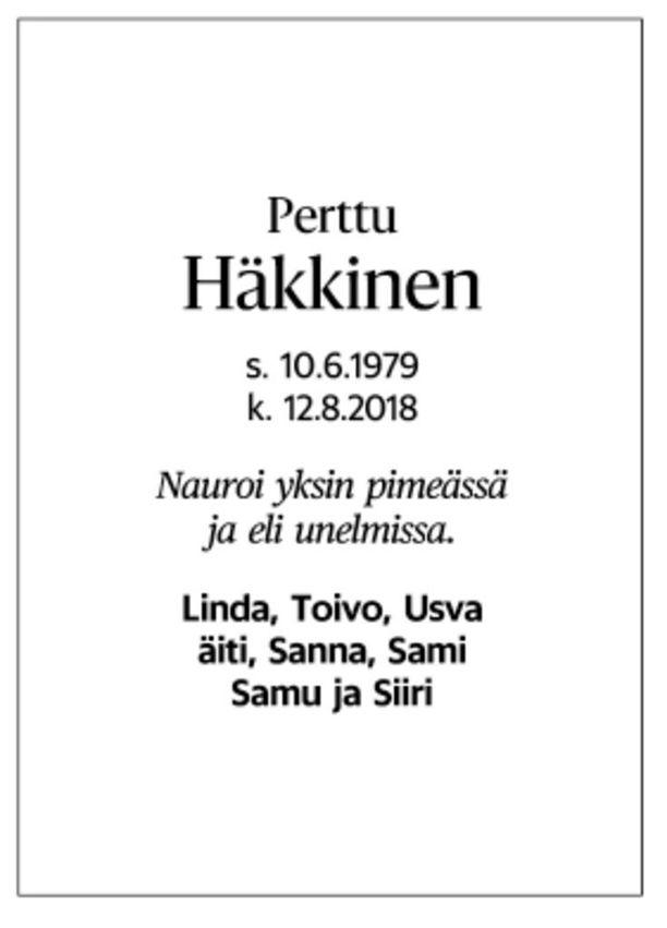 Perttu Häkkisen kuolinilmoitus julkaistiin Helsingin Sanomissa perjantaina.