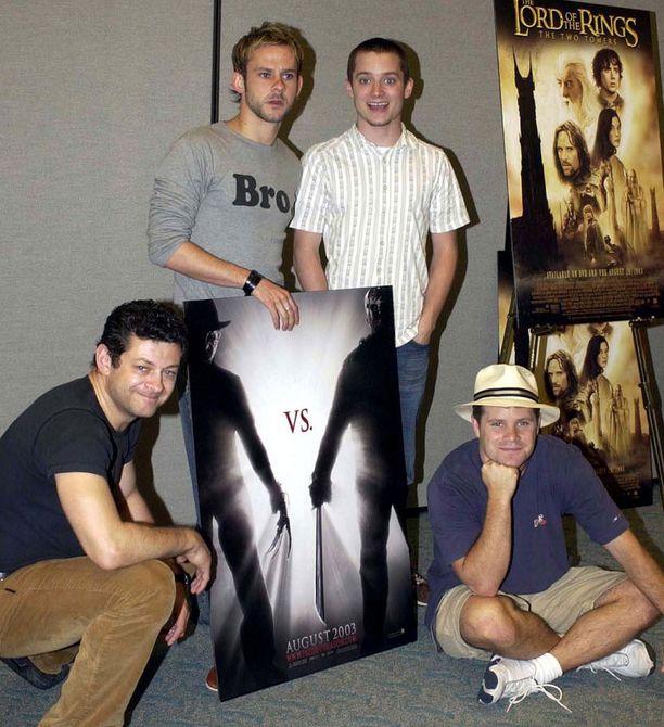 15 vuotta sitten Dominic Monaghan (toinen vasemmalta) ja Elijah Wood näyttivät tältä.