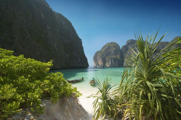 The Beach -elokuvan Maya Bay houkuttaa turisteja paratiisimaisen kauneutensa vuoksi.