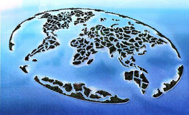 Tältä Dubain World Islands - tekosaariston piti suunnitelmien mukaan näyttää.
