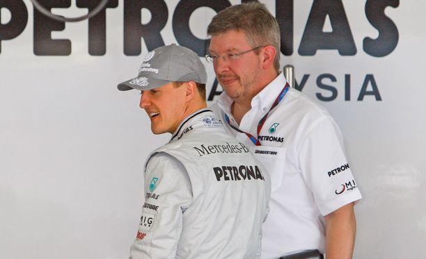 Michael Schumacher ja Ross Brawn tekivät Mercedeksellä yhteistyötä vuodet 2010-2012.
