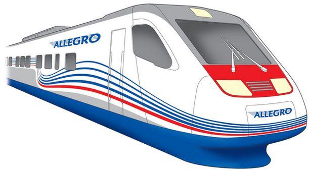Virtaviivainen Allegro-juna muistuttaa Pendolinoa.