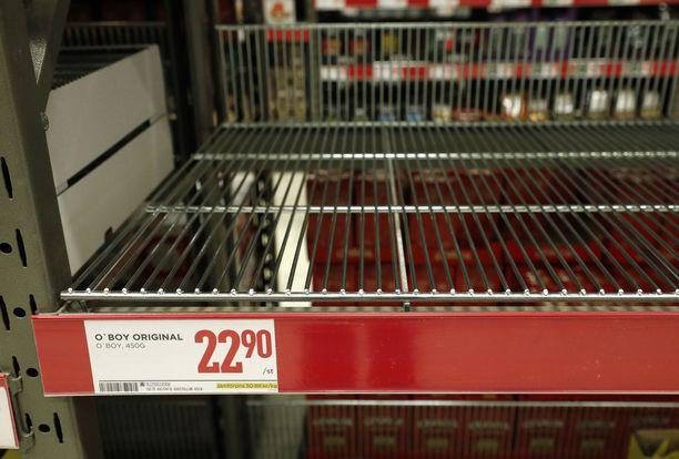 Kamala näky ruotsalaisessa ruokakaupassa: tyhjät O'boy-kaakaohyllyt.