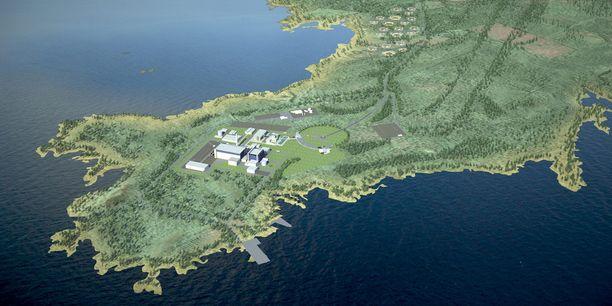 Havainnekuva Fennovoiman ydinvoimalasta Pyhäjoelta.