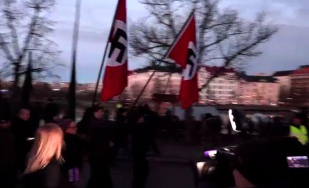 Hakaristiliput heiluivat itsenäisyyspäivän mielenosoituksessa.