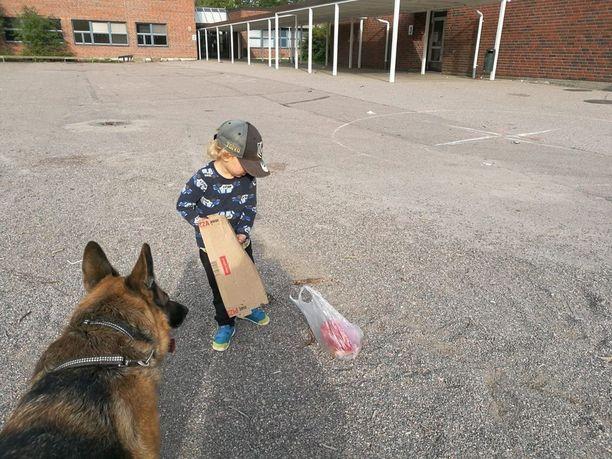 Kolmevuotias Toivo keräsi roskat koulun pihalta ja sai paljon kiitosta toiminnastaan.