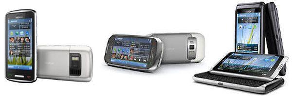 Nokian uudet älypuhelimet C6, C7 ja E7 yhteiskuvassa.