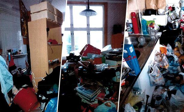 Kuvamateriaalia oikeudessa käsitellystä talosta. Asunto oli tavaroiden ja roskien peitossa.