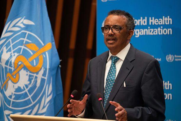Maailmanterveysjärjestö WHO:n johtaja Tedros Adhanom Ghebreyesus puhui Maailman terveyskokouksessa Genevessä maanantaina.