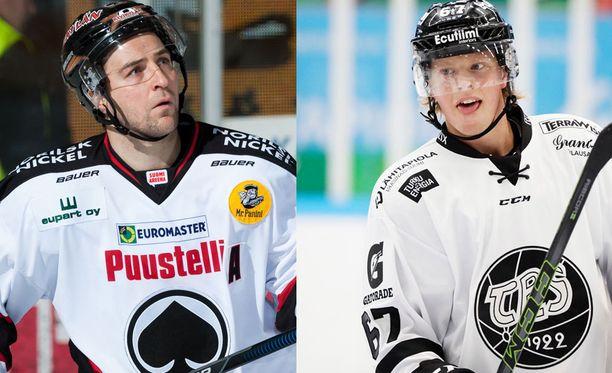 Ässien Juha Kiilholma (vas.) on tasakentällisin 39 maalia TPS:n Jasper Lindsteniä perässä. Pelaajat kommentoivat tilastoa ymmärrettävästi kovin eri tunnelmissa.
