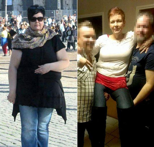 Ennen-kuva (vas.) otettu Roomassa lokakuussa 2012, jolloin paino oli 138 kg. Jälkeen-kuva otettu 7.12.2014, paino 72,9 kg.
