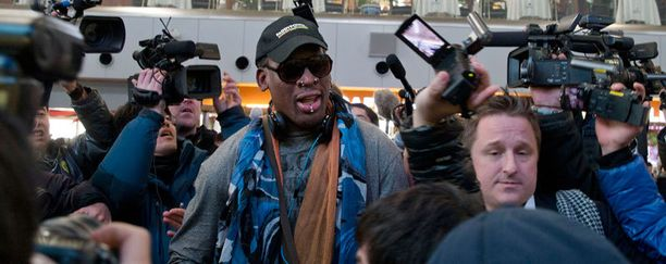 Dennis Rodmanin saapuminen Pohjois-Koreaan oli suuri mediatapaus.
